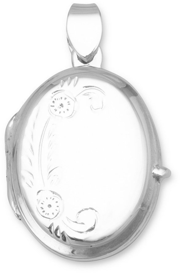 Small Polished/Floral Design Picture Locket 925 Sterling Silver