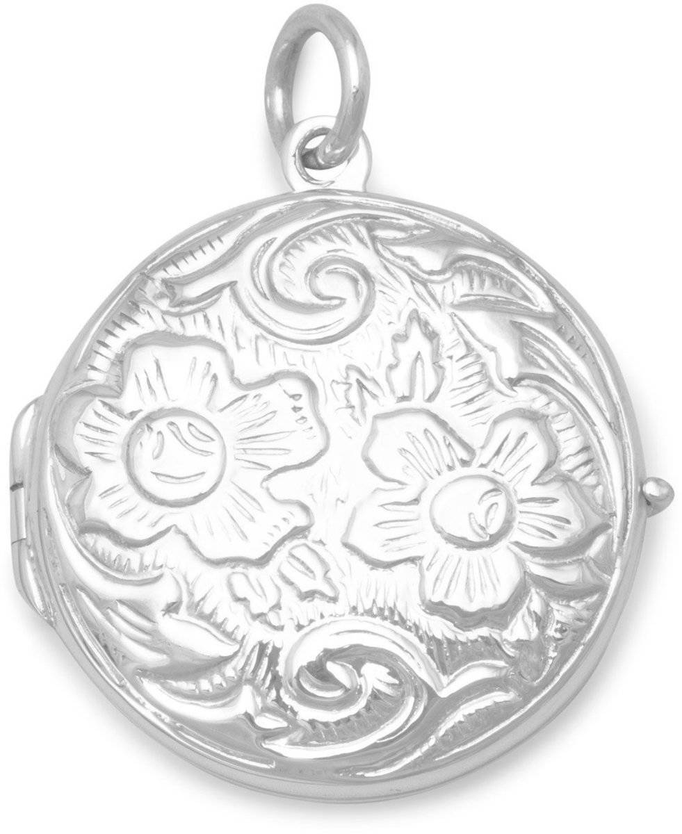 Round Floral Design Locket 925 Sterling Silver