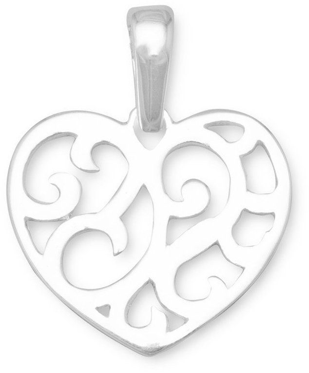 Cut Out Heart Design Pendant 925 Sterling Silver