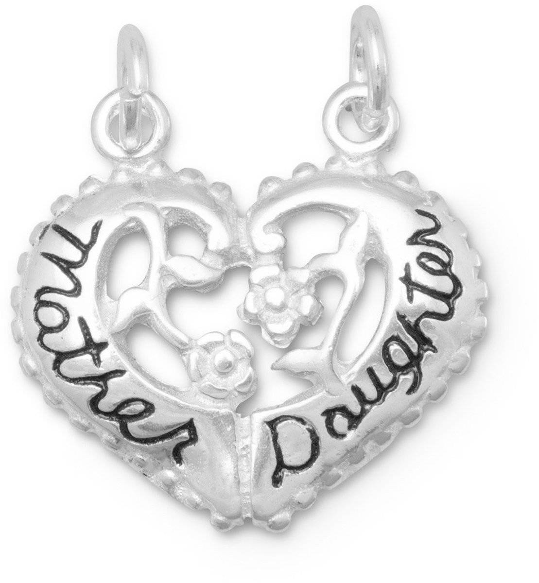 Heart Shaped Mother/Daughter Break-Away Charm 925 Sterling Silver