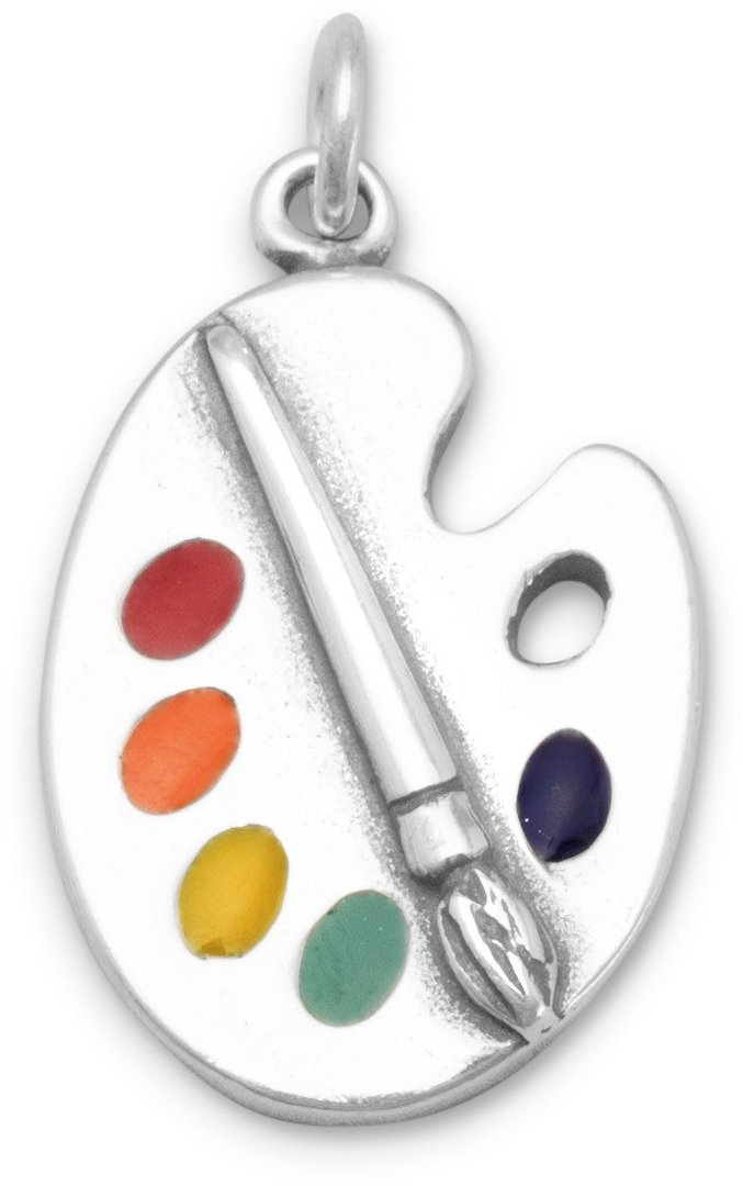 Painters Palette with Enamel Colors Charm 925 Sterling Silver
