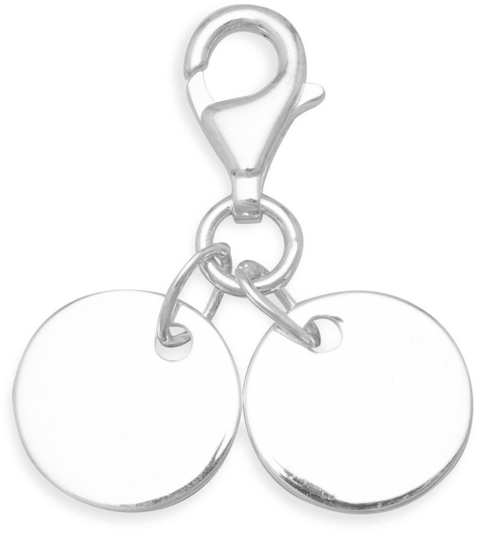 Lobster Clasp Charm with 2 Round Engravable Tags 925 Sterling Silver