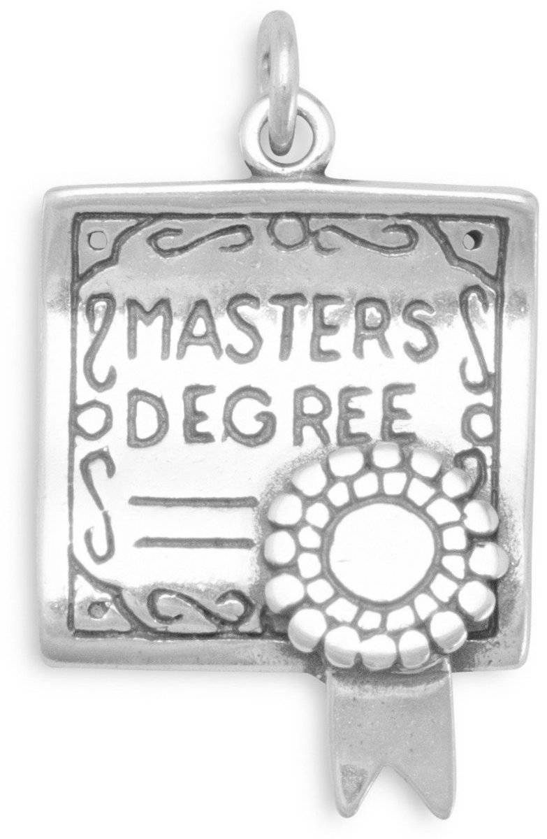 Masters Degree Charm 925 Sterling Silver