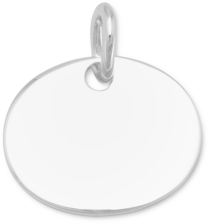 Oval Engraveable Tag Pendant 925 Sterling Silver