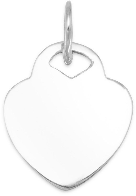 Engravable Heart Tag Pendant 925 Sterling Silver