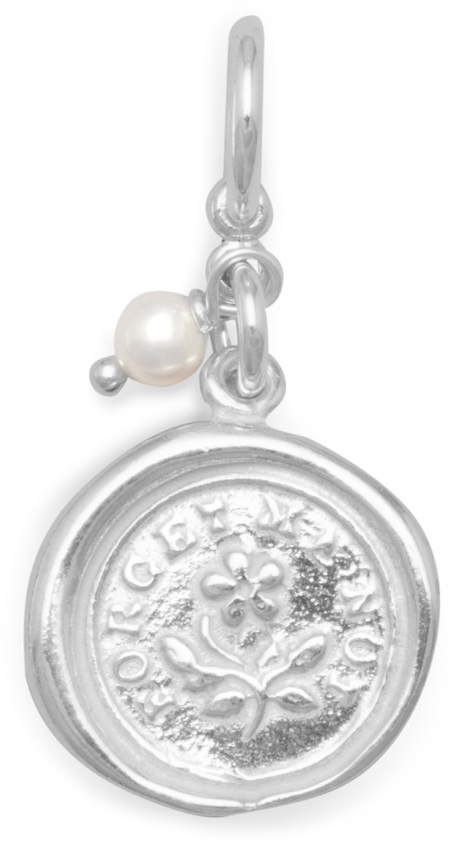 Forget Me Not Charm with Cultured Freshwater Pearl 925 Sterling Silver - DISCONTINUED