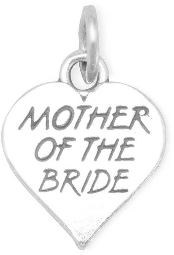 Oxidized Mother of the Bride Charm 925 Sterling Silver