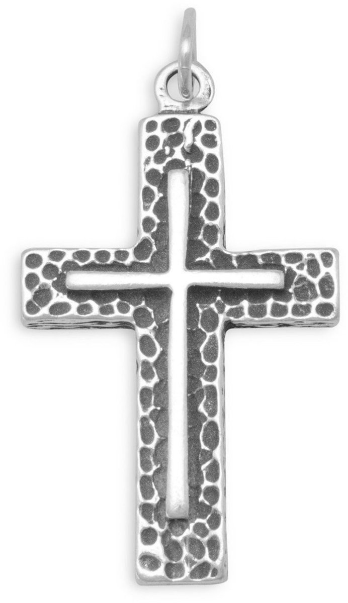 Textured Cross Pendant 925 Sterling Silver