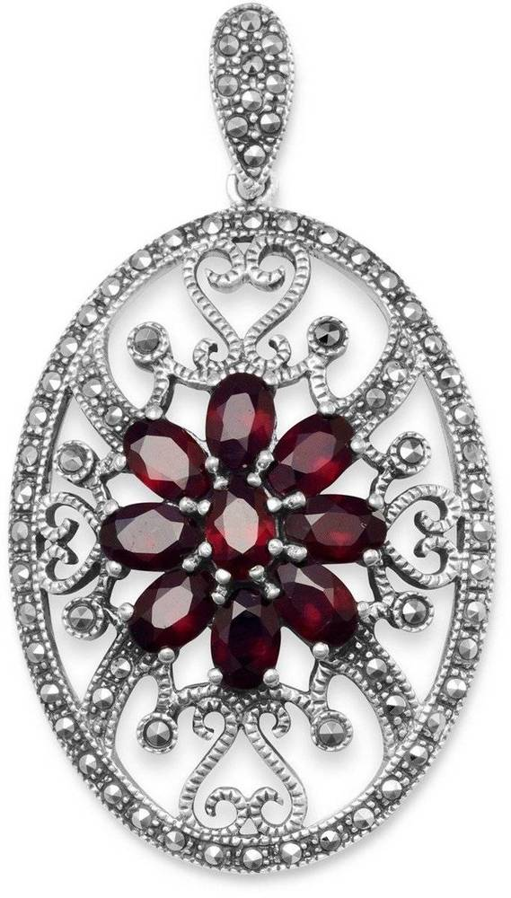 Oval Marcasite and Garnet Pendant 925 Sterling Silver
