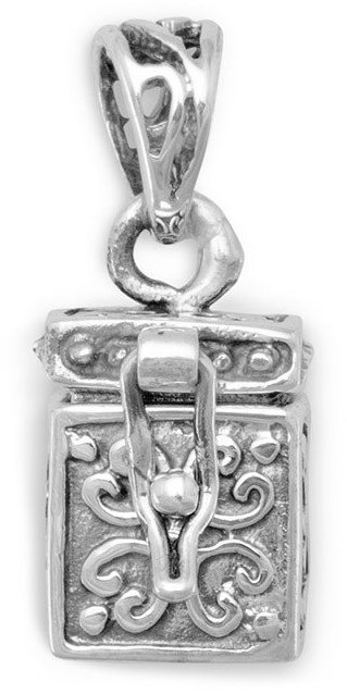 Small Prayer Box with Ichthys/Cross 925 Sterling Silver
