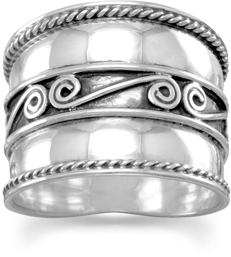 Bali Ring with Spirals and Rope Edge 925 Sterling Silver