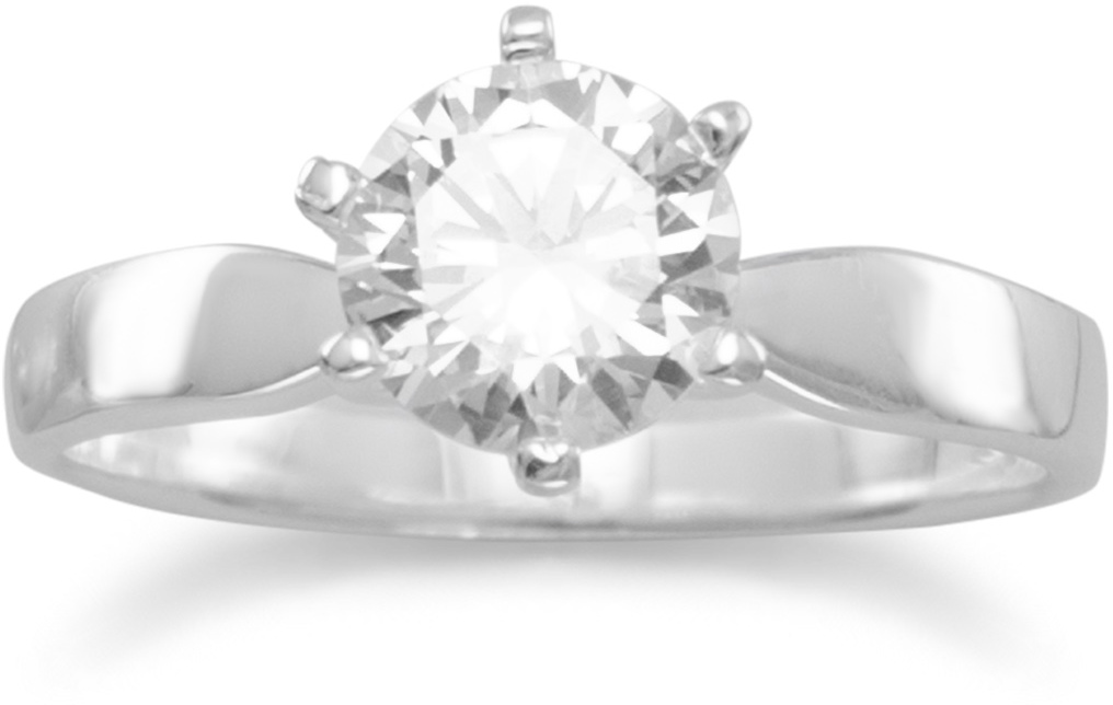 "7mm (2/7"") Solitaire CZ Ring 925 Sterling Silver"