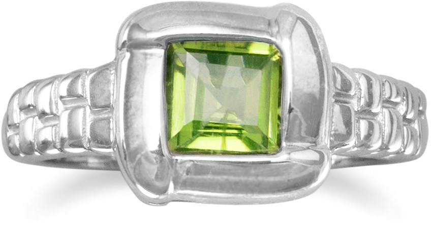 "6mm (1/4"") Square Peridot with Overlapped Edge Ring 925 Sterling Silver"