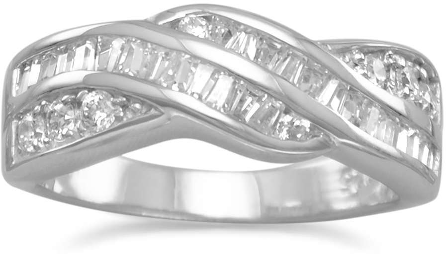 Rhodium Plated Baguette and Round CZ Twist Ring 925 Sterling Silver