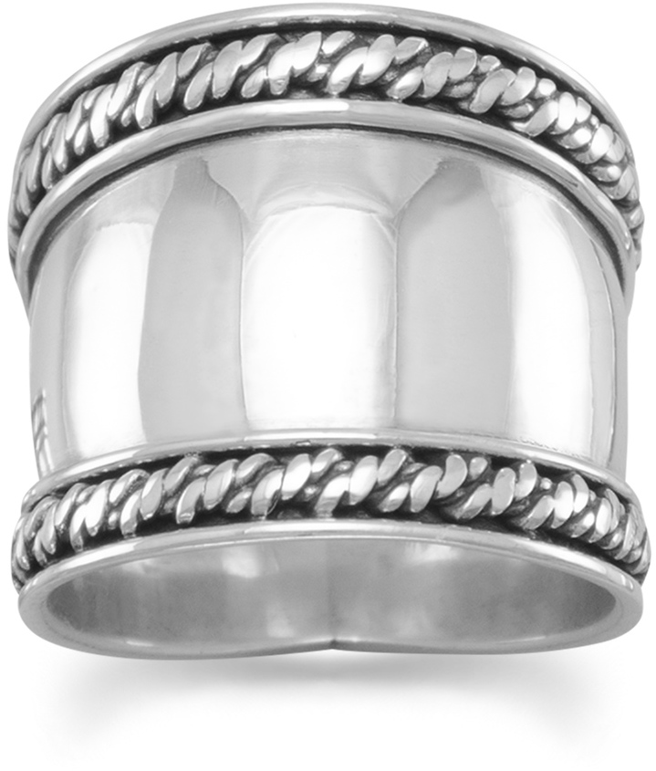 Bali Rope Edge Ring 925 Sterling Silver