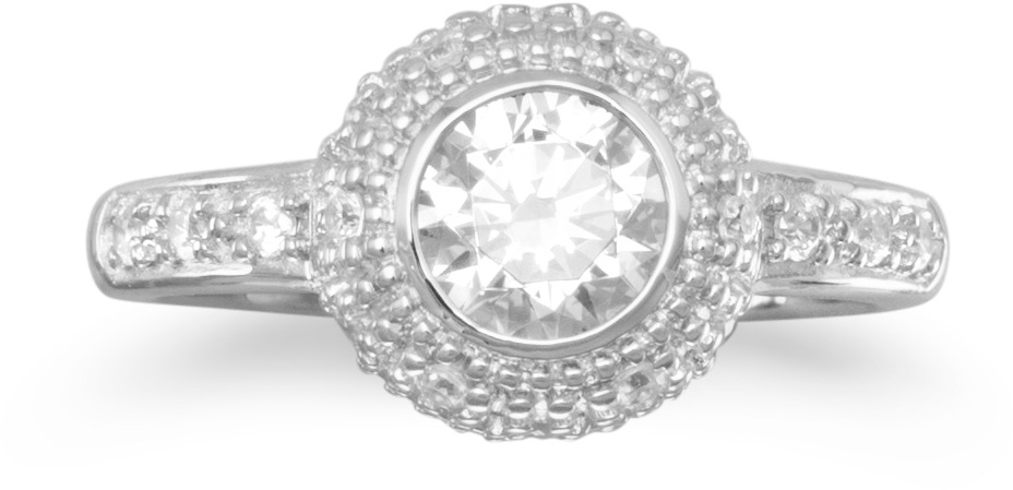 "Rhodium Plated Ring with 6mm (1/4"") Round CZ and Pave Sides 925 Sterling Silver"