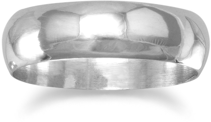 "Polished 5mm (1/5"") Solid Band Ring 925 Sterling Silver"