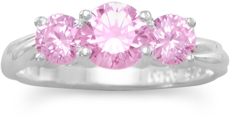 "Two 4.5mm (3/16"") and One 6mm Pink CZ Ring 925 Sterling Silver"