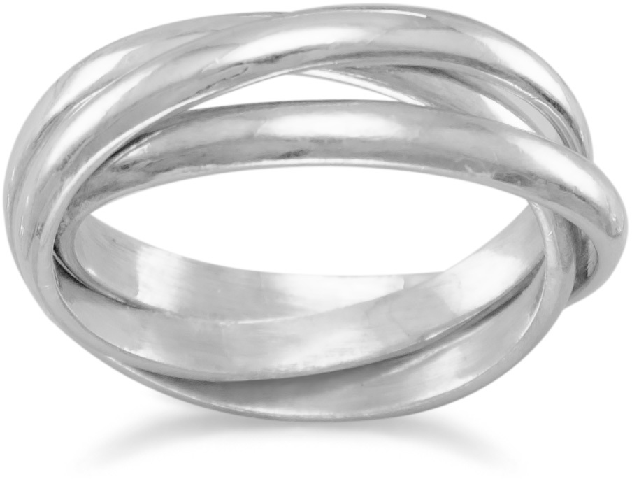 "3mm (1/8"") 3 Band Rolling Ring 925 Sterling Silver"