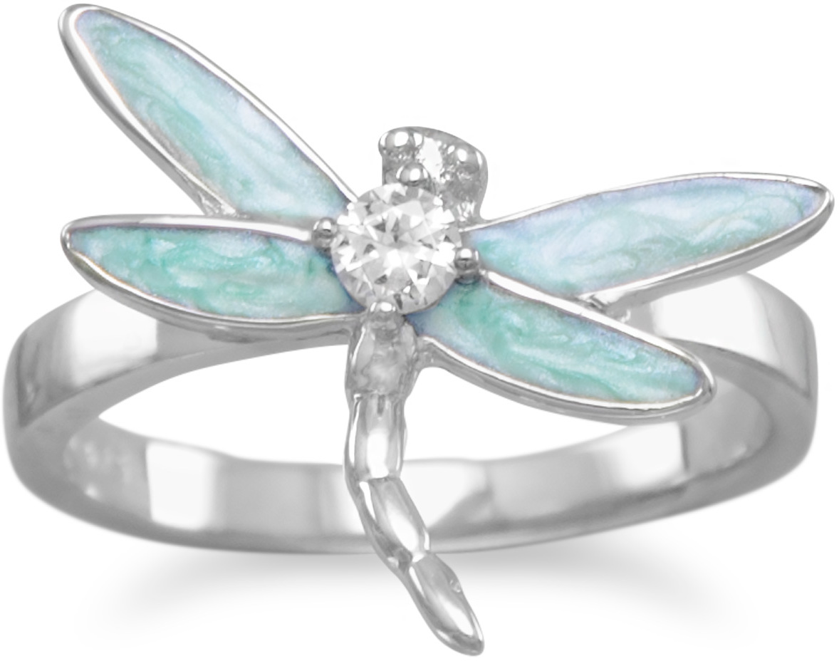Rhodium Plated Light Blue Enamel CZ Dragonfly Ring 925 Sterling Silver