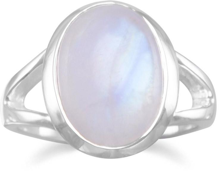Rainbow Moonstone Ring 925 Sterling Silver