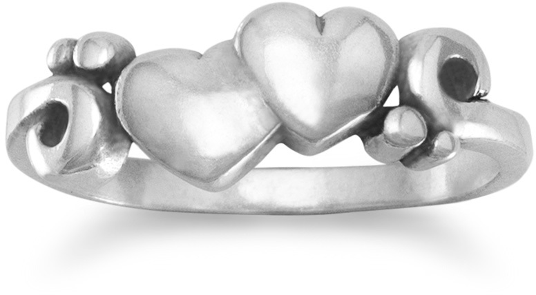 Ring with Two Hearts and Swirl Design 925 Sterling Silver