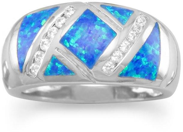 Synthetic Blue Opal and CZ Ring 925 Sterling Silver