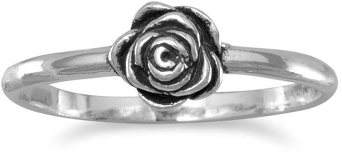 Small Oxidized Rose Ring 925 Sterling Silver