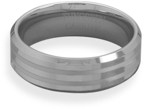 Tungsten Carbide Mens Ring with Alternating Shine and Matte Finish