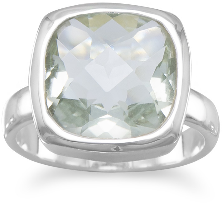 Faceted Green Amethyst Ring 925 Sterling Silver