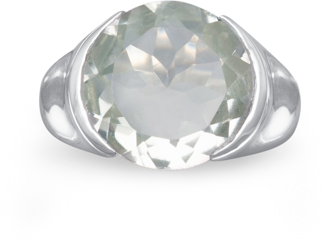 Green Amethyst Ring 925 Sterling Silver