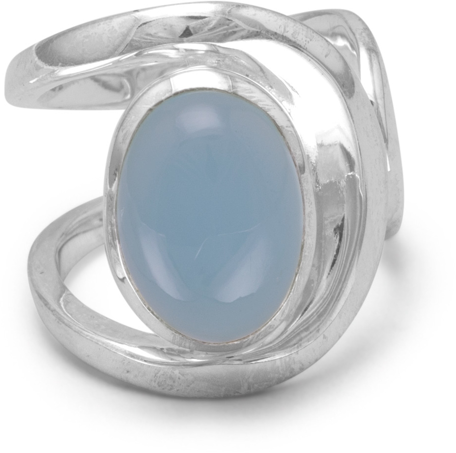 Chalcedony Ring with Open Band 925 Sterling Silver