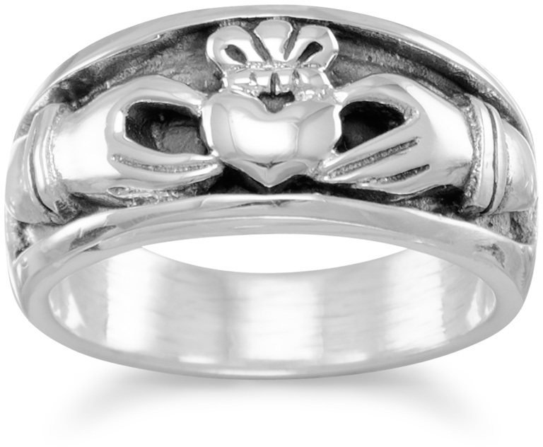 Oxidized Inset Claddagh Ring 925 Sterling Silver