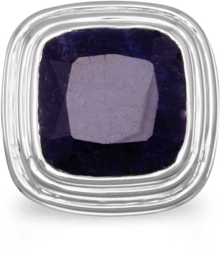 Square Faceted Rough-Cut Sapphire Ring 925 Sterling Silver