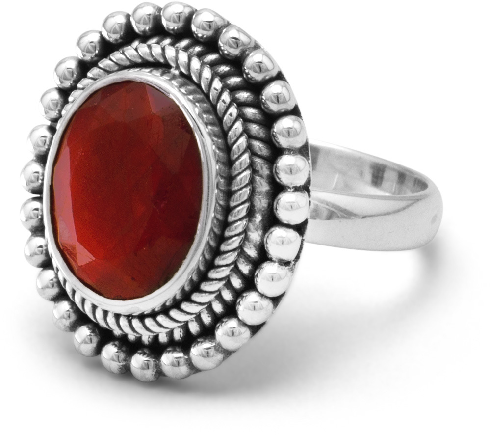 Oxidized Oval Faceted Rough-Cut Ruby with Bead Design Ring 925 Sterling Silver
