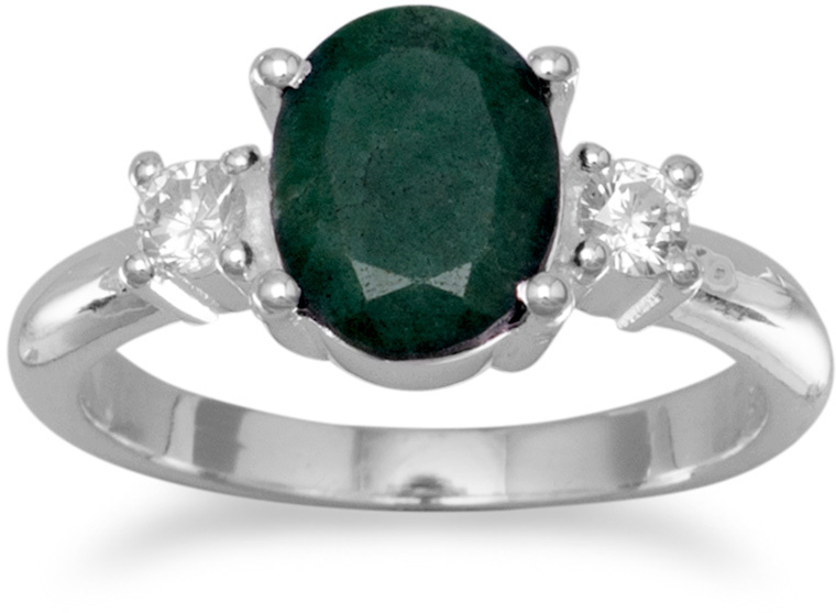 Rough-Cut Emerald and CZ Ring 925 Sterling Silver