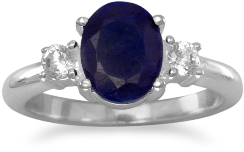 Rough-Cut Sapphire and CZ Ring 925 Sterling Silver - DISCONTINUED