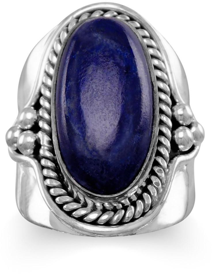Oxidized Lapis Ring 925 Sterling Silver