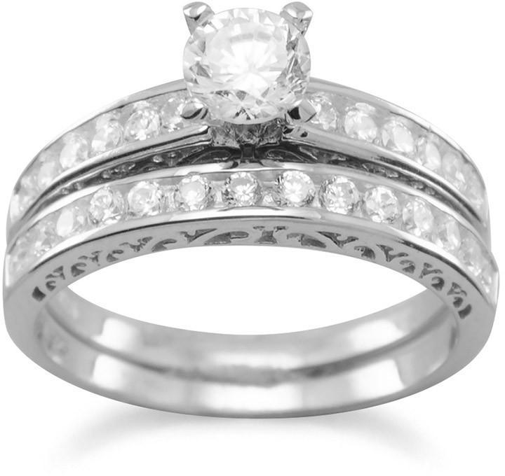 Rhodium Plated Wedding Band Set 925 Sterling Silver