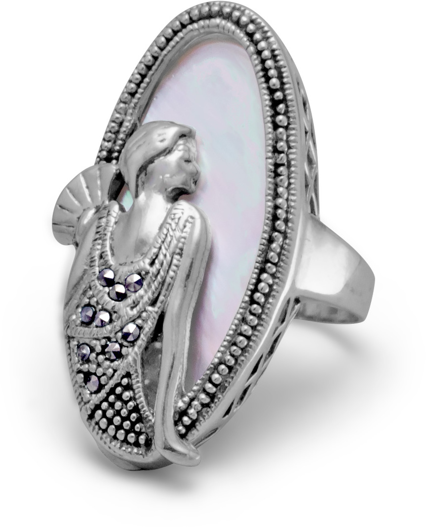 Shell Ring with Marcasite Sitting Woman Design 925 Sterling Silver