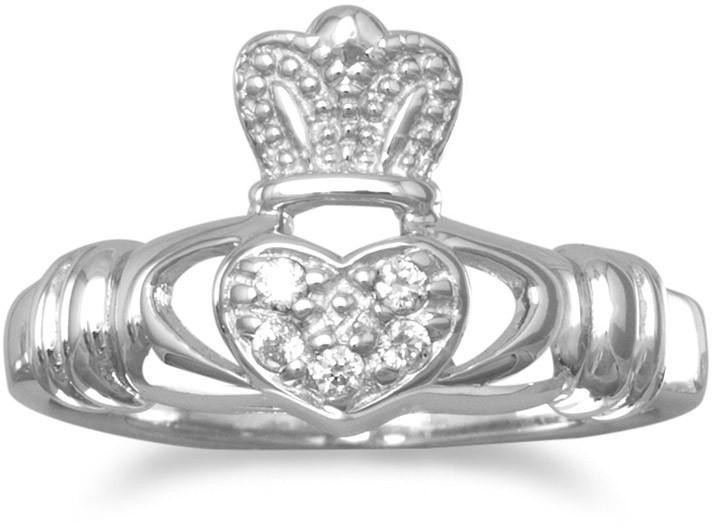 Rhodium Plated CZ Claddagh Ring 925 Sterling Silver