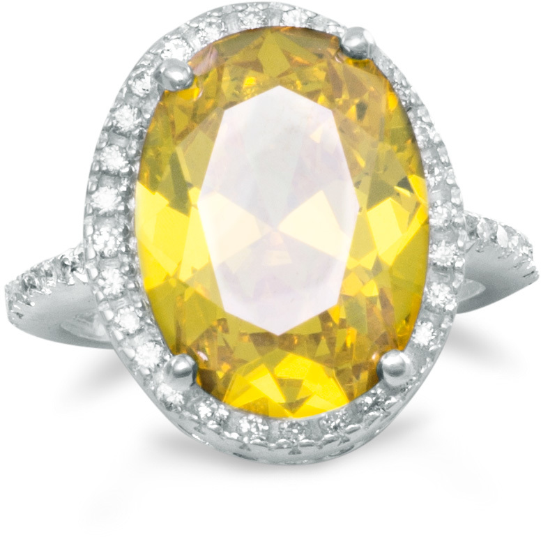 Yellow and Clear CZ Ring 925 Sterling Silver - DISCONTINUED