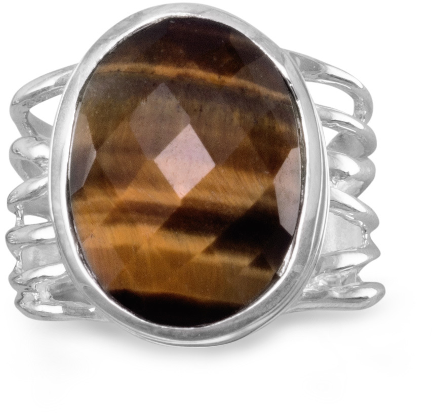 Oval Tigers Eye Ring 925 Sterling Silver
