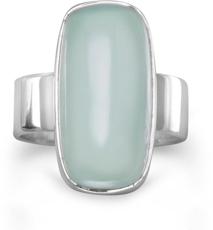 Oval Chalcedony Ring 925 Sterling Silver