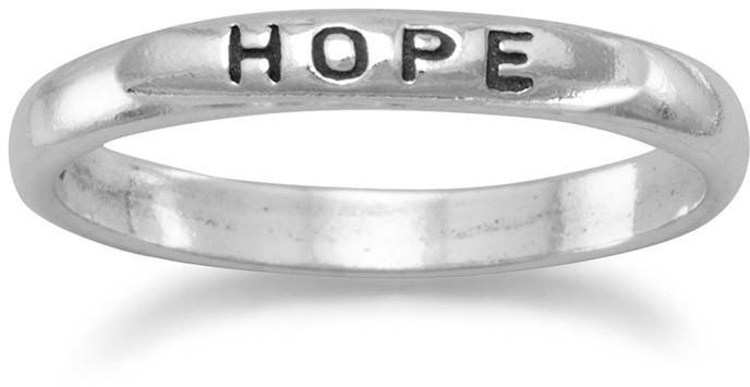 "Oxidized ""Hope"" Band 925 Sterling Silver"
