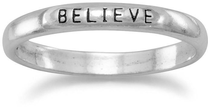 "Oxidized ""Believe"" Band 925 Sterling Silver"