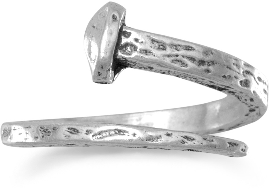 Oxidized Adjustable Nail Ring 925 Sterling Silver