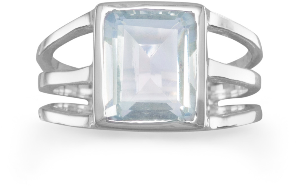 Green Amethyst Triple Thin Band Ring 925 Sterling Silver