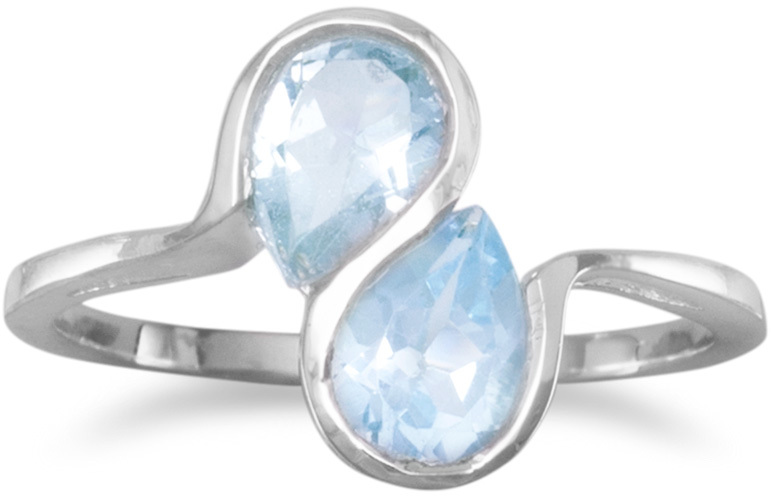 Blue Topaz Ring with Wavy Band Design 925 Sterling Silver