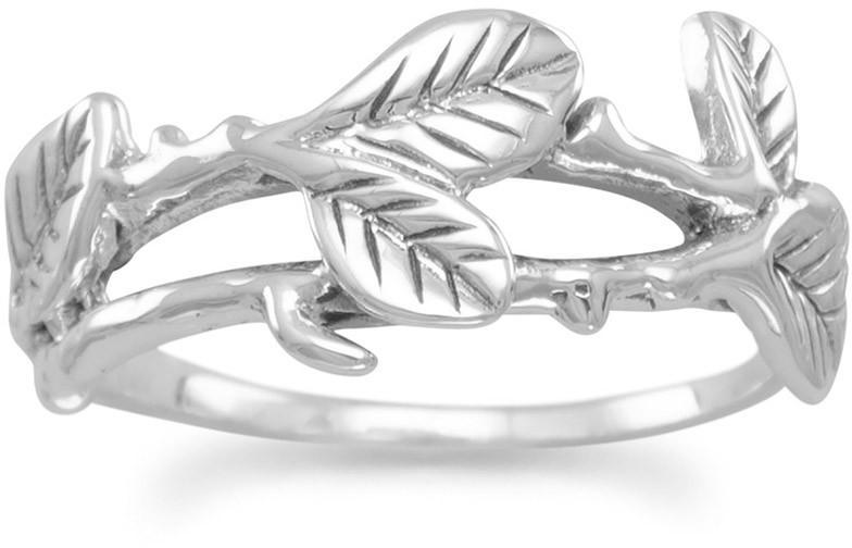 Oxidized Leaves Ring 925 Sterling Silver